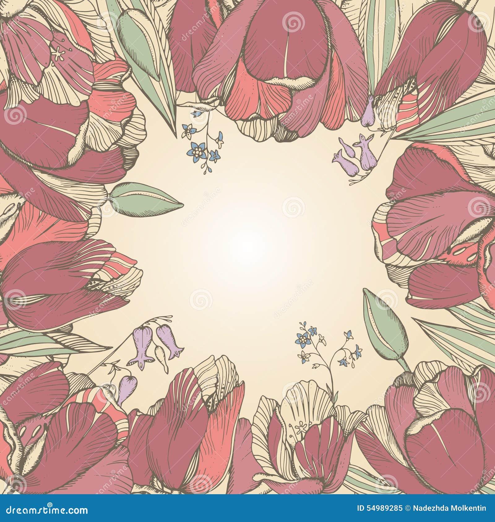 Blommar blom- bakgrund för vektorelegans med den grafiska våren