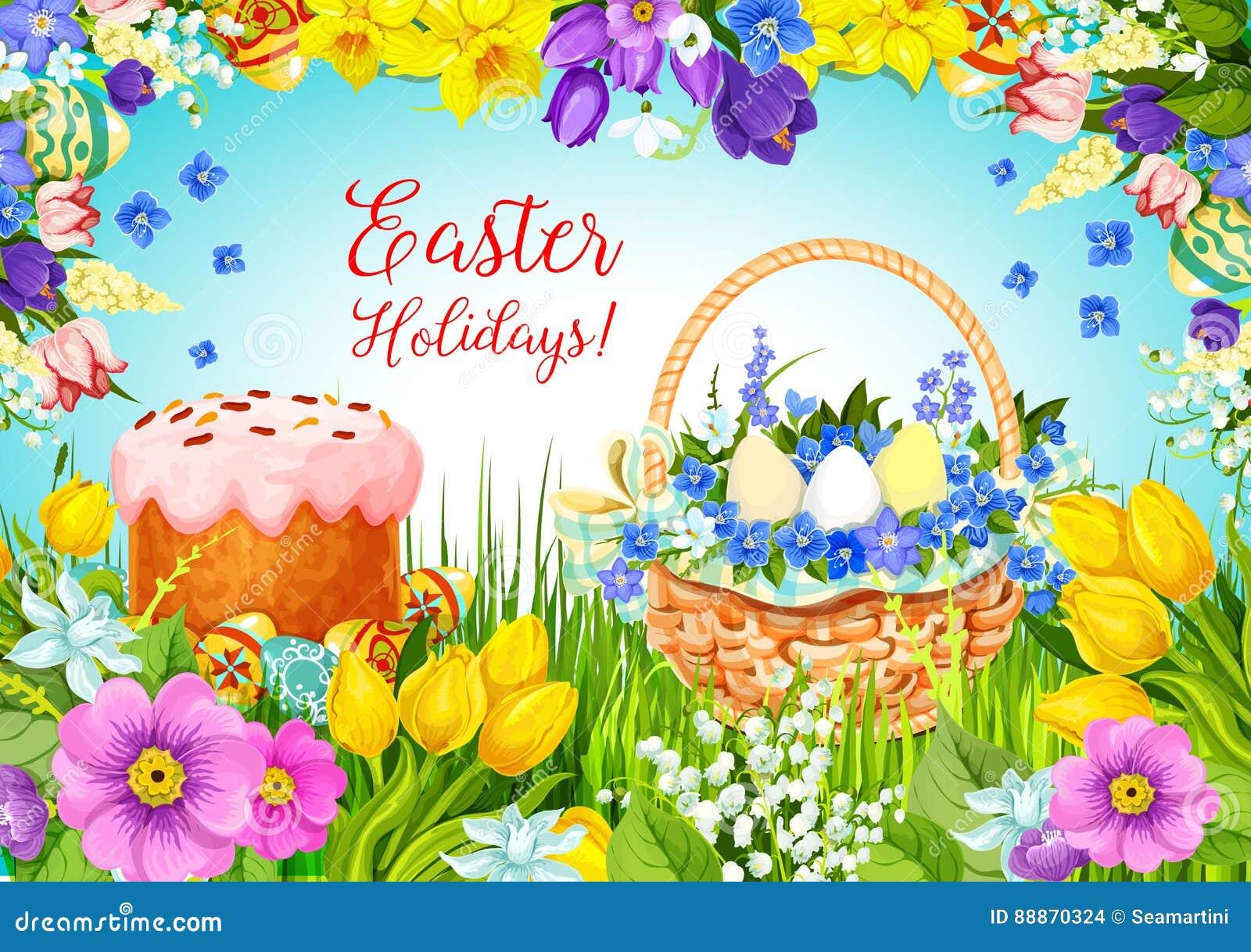 Blommar den påsk- kakan för påsken, ägg, vektorhälsning