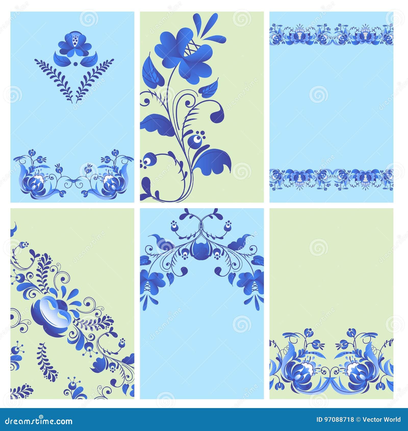 Blommar den rysk målade broschyren för prydnadkonstgzhel stil med blått på traditionella folk för vit blomma filialmodellen