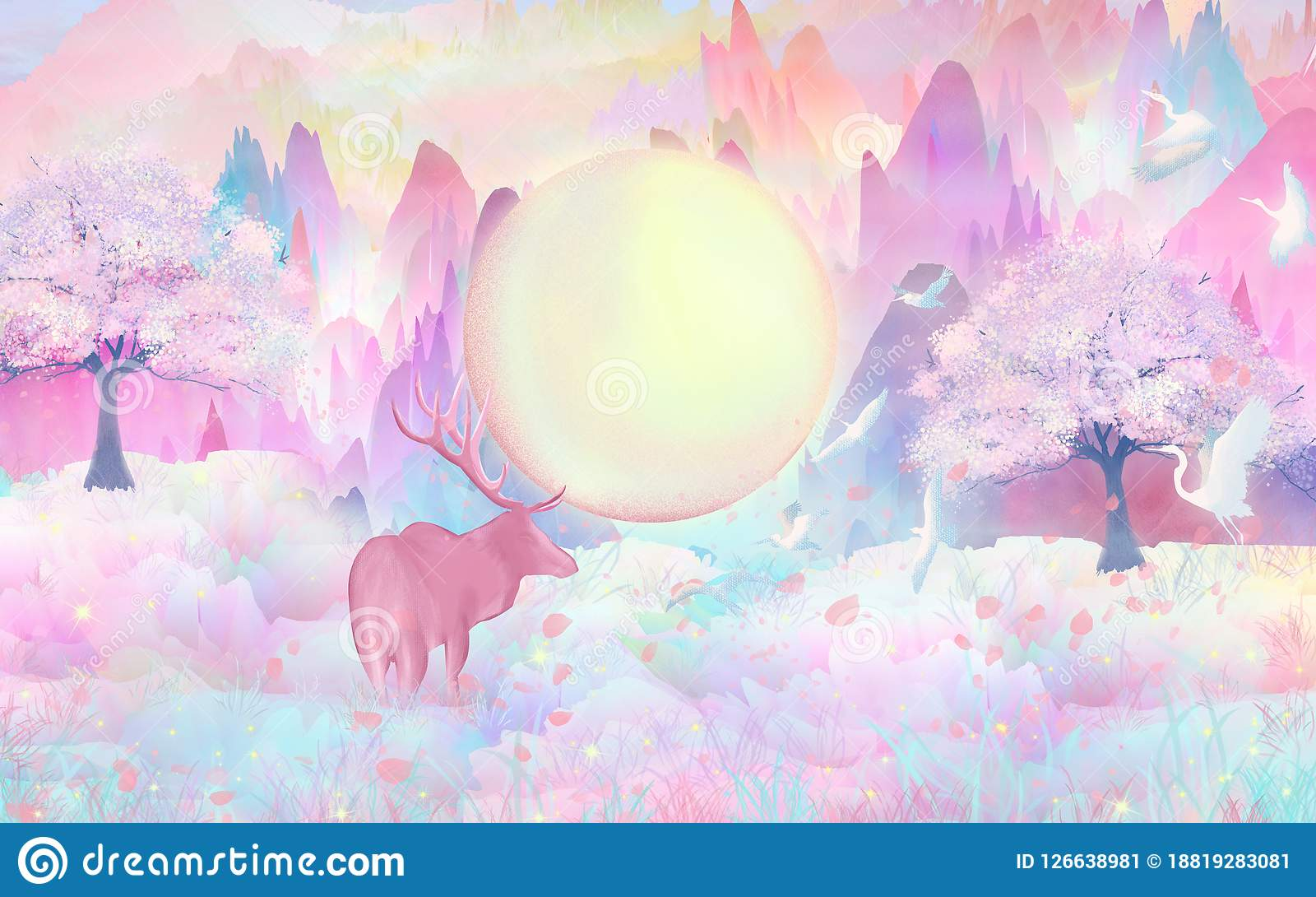 Blommar fullmånen, vårblommor öppnar, hjortar i skogleken lyckligt, i djungelflygfåglarna