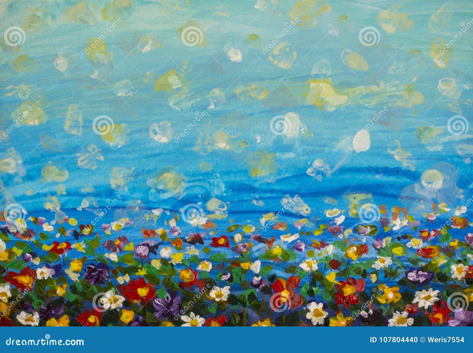 Blommar purpurfärgade kosmos för målning, den vita tusenskönan, blåklint, vildblomma Blommar ängen, gräsplanfältmålningar Hand må