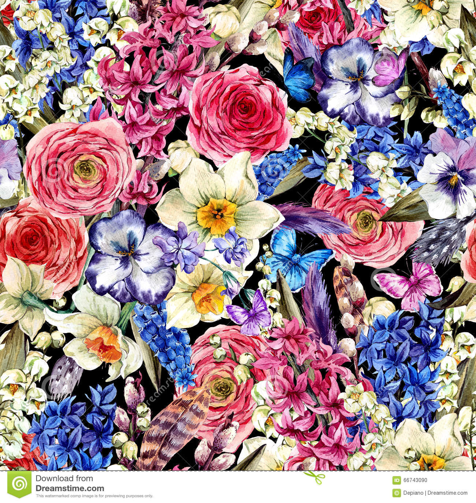 Blommar sömlös bakgrund för vattenfärgen, tappning buketten, pil