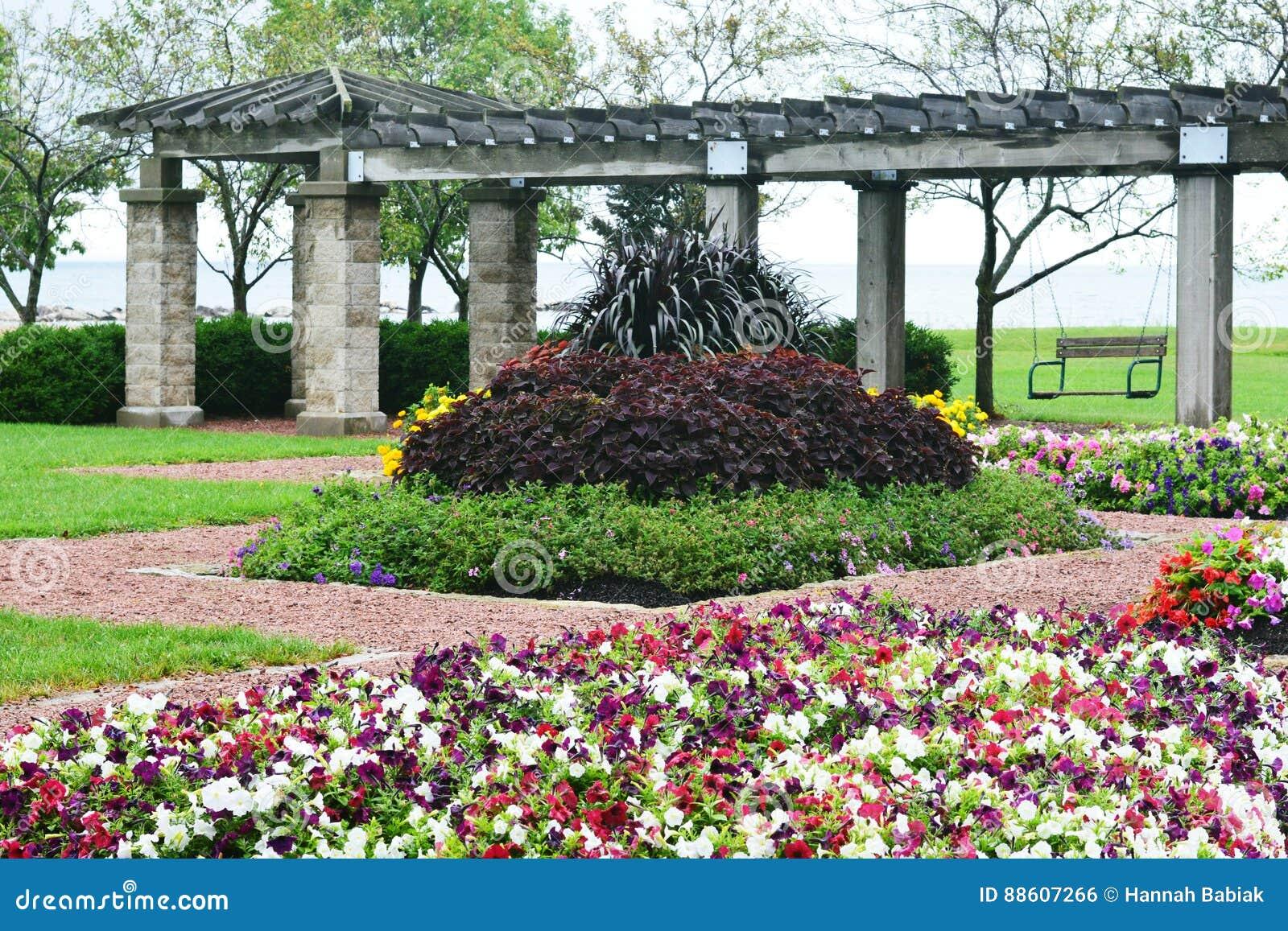Blommaträdgården, Eichelman parkerar, Kenosha, Wisconsin