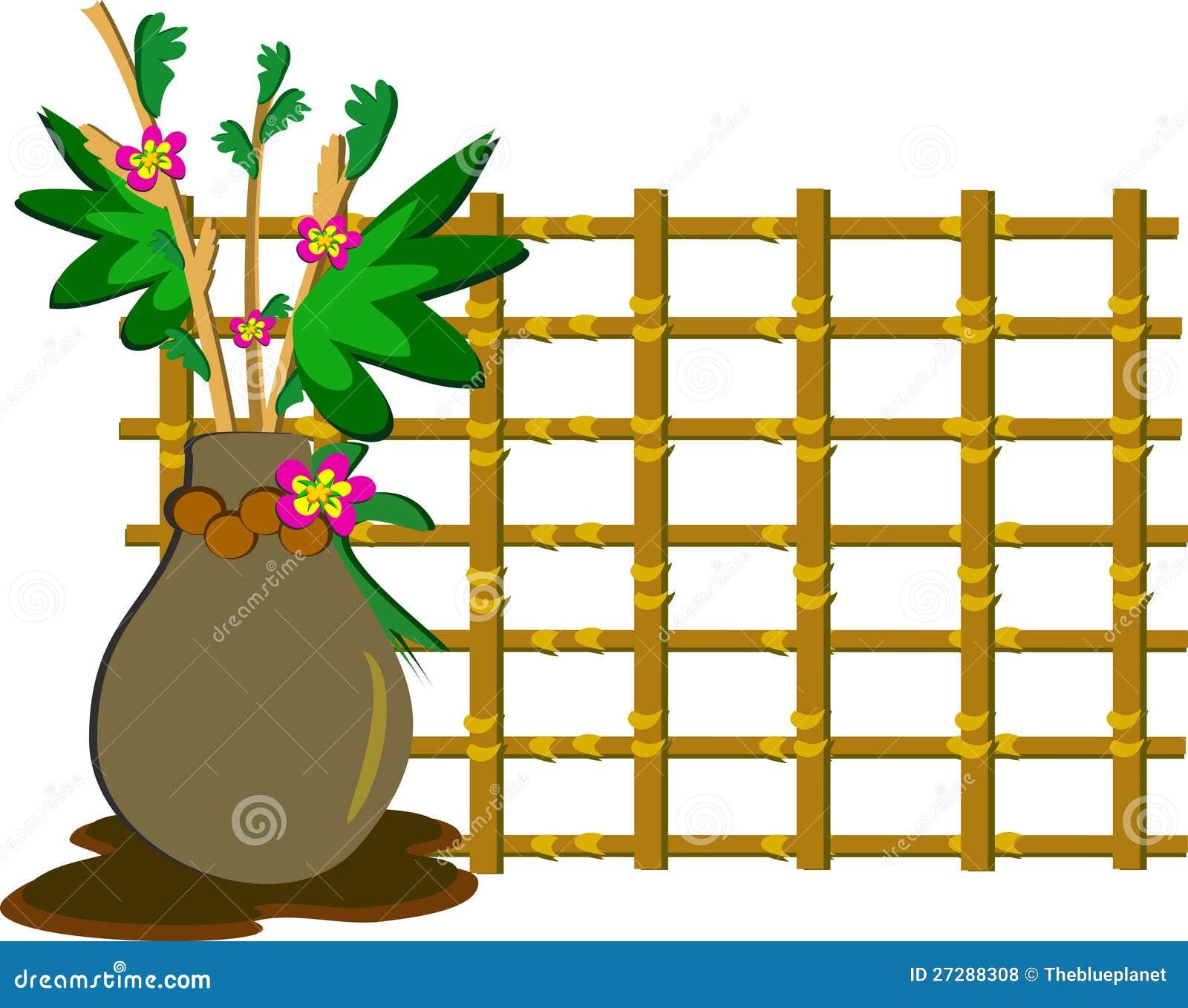 Download BlommaVase med träraster stock illustrationer. Illustration av behållare - 27288308
