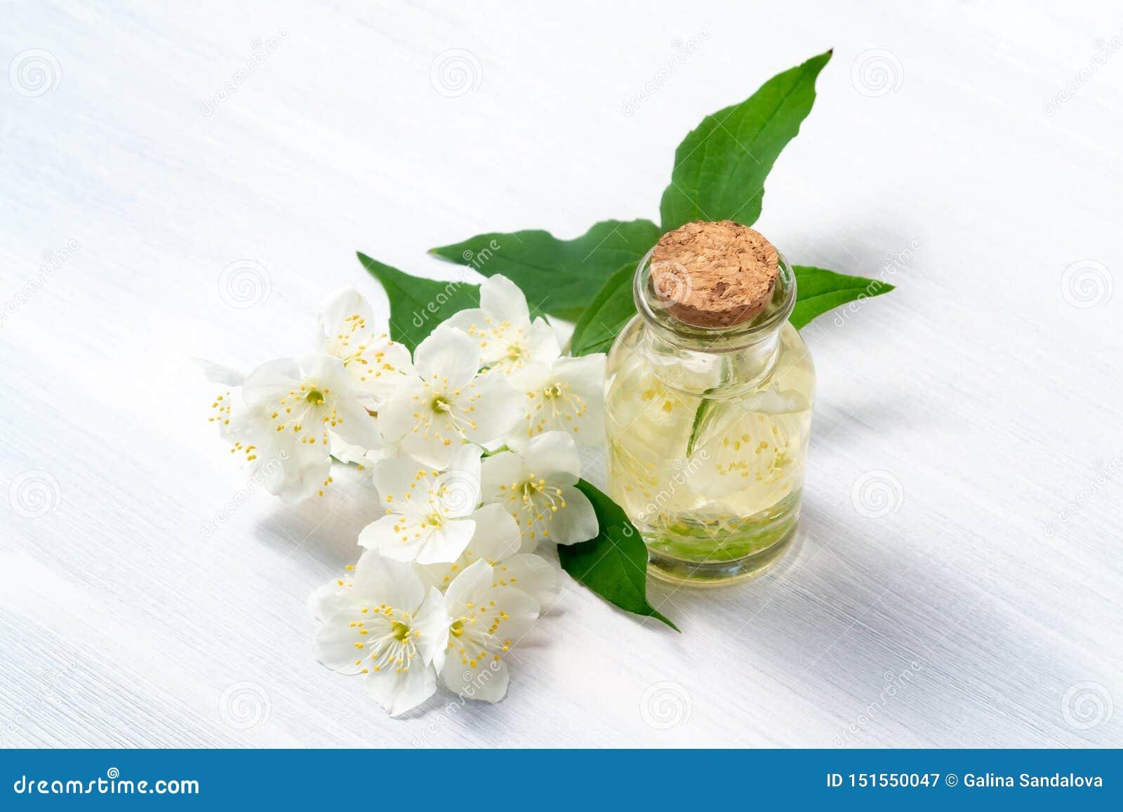 Blommor av philadelphusen någonstans kallade jasmin eller den falska apelsinen och en flaska av olja på en vit trätabell