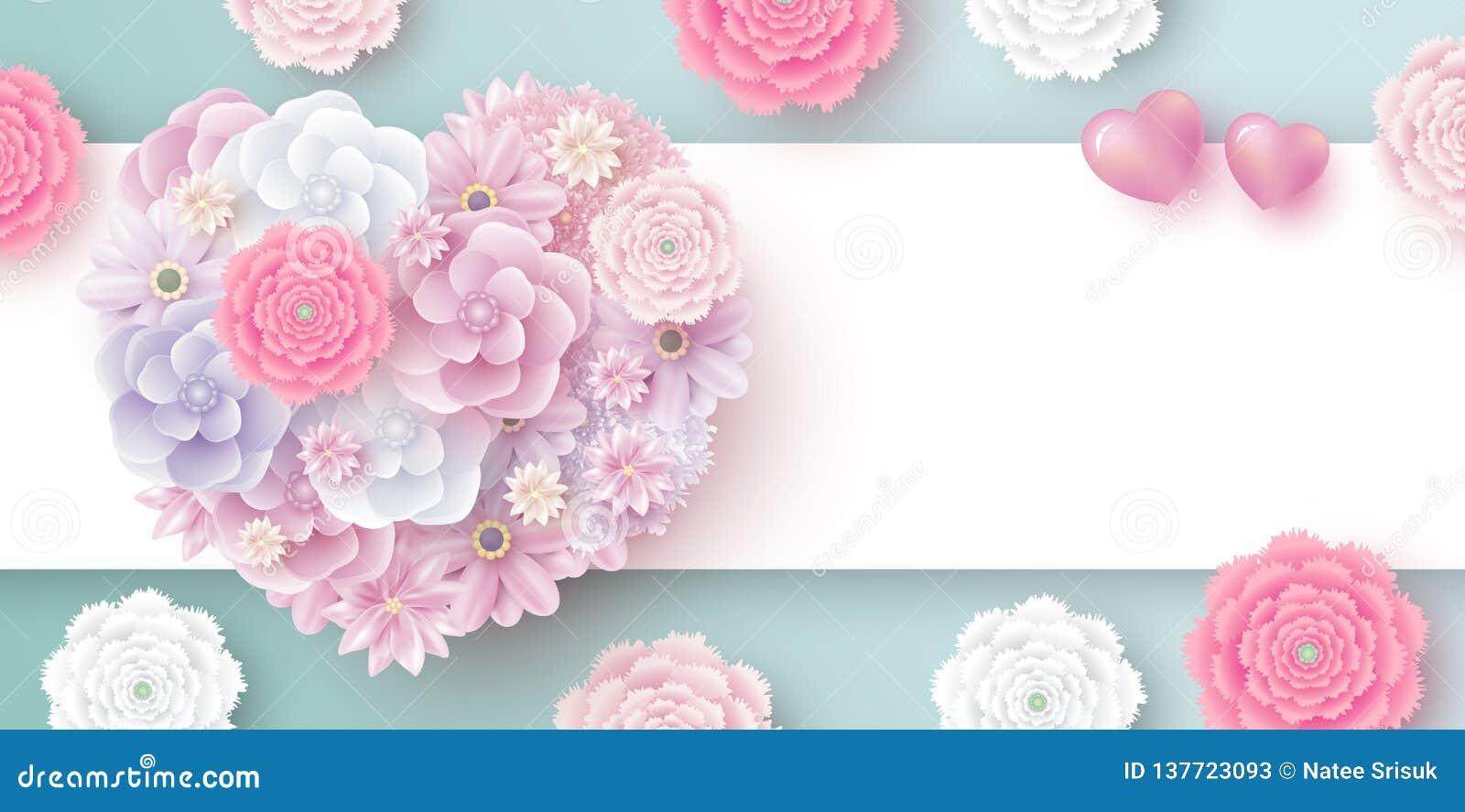 Blommor i hjärtaform med kopieringsutrymme för valentinkvinnors dag för mödrar