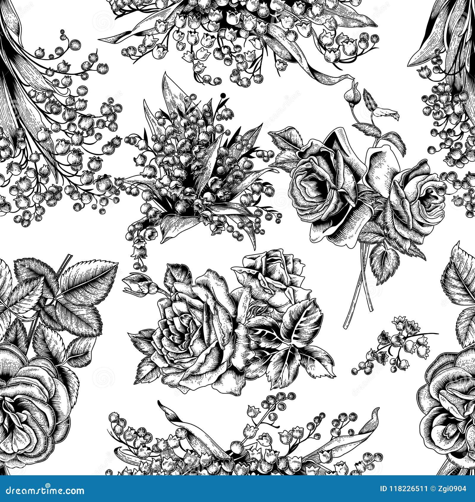 Blommor seamless vektor för bakgrund tappning för gullig illustration för fåglar set