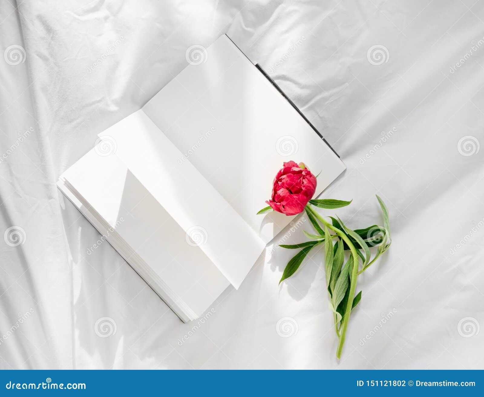 Blommor som blir på den öppna boken i säng Romantisk bra morgon Top besk?dar