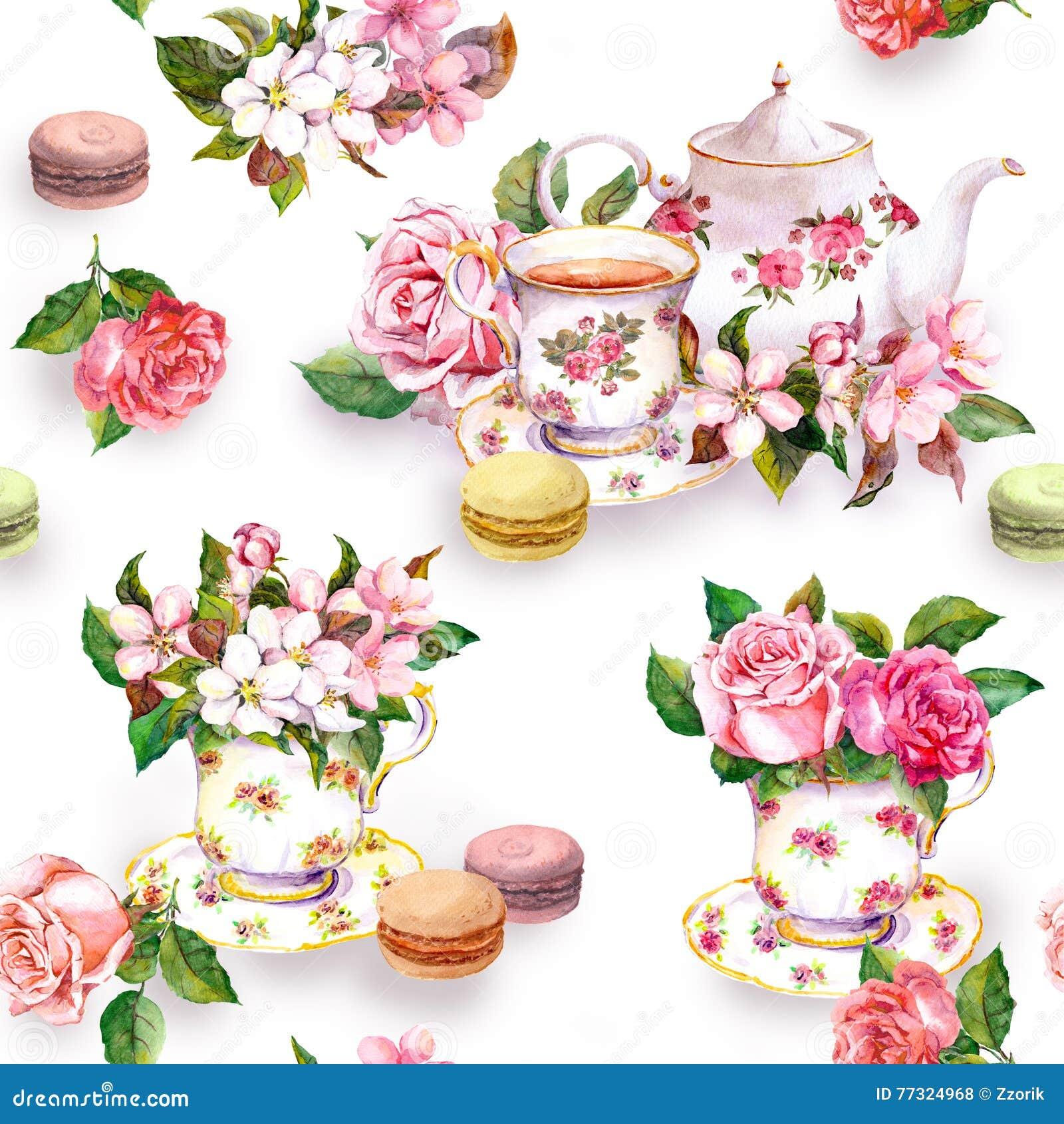 Blommor tekopp, kakor, makron, kruka vattenfärg Seamless bakgrund