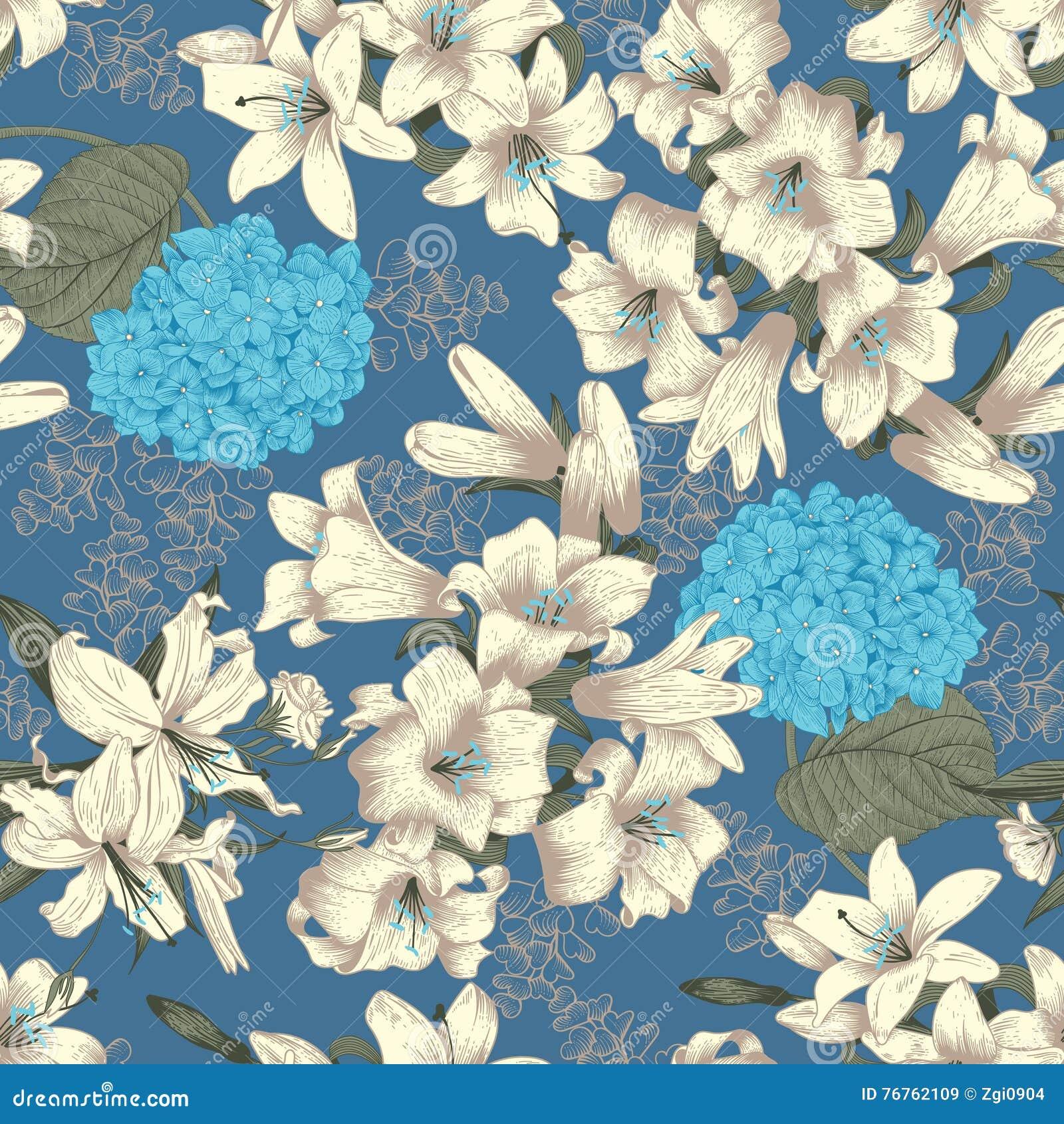 Blommor vita liljar seamless vektor för bakgrund Blom- tappning mönstrar bostonian