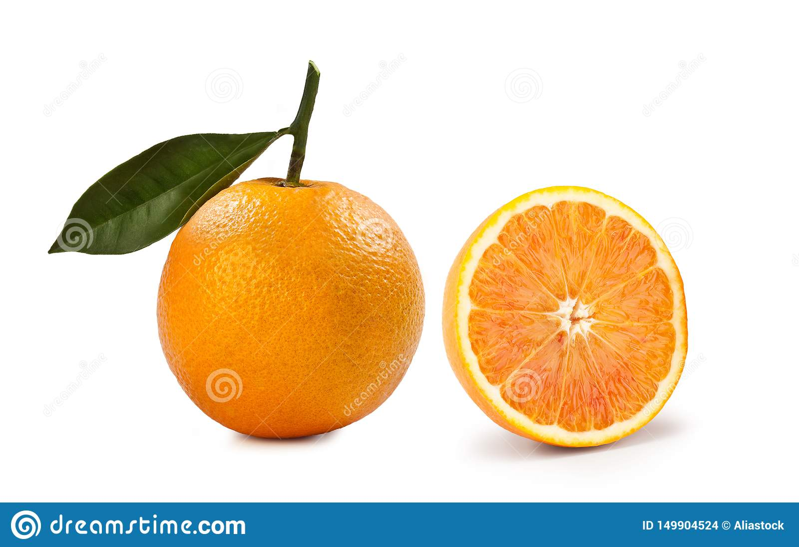 Blond apelsin – 'Arancia Bionda 'på vit bakgrund