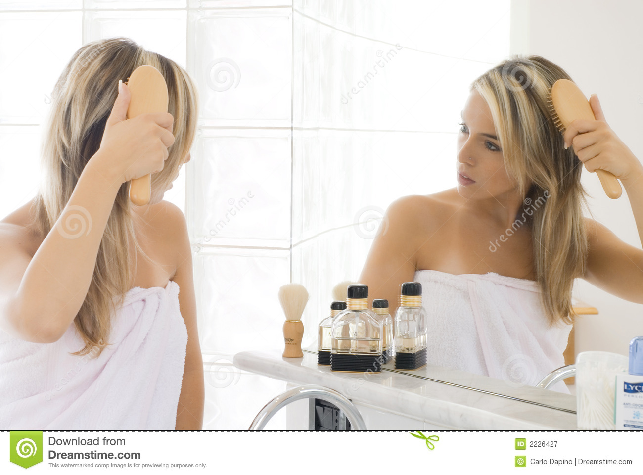 Blond In Bathroom Royalty Free Stock Photography Image
