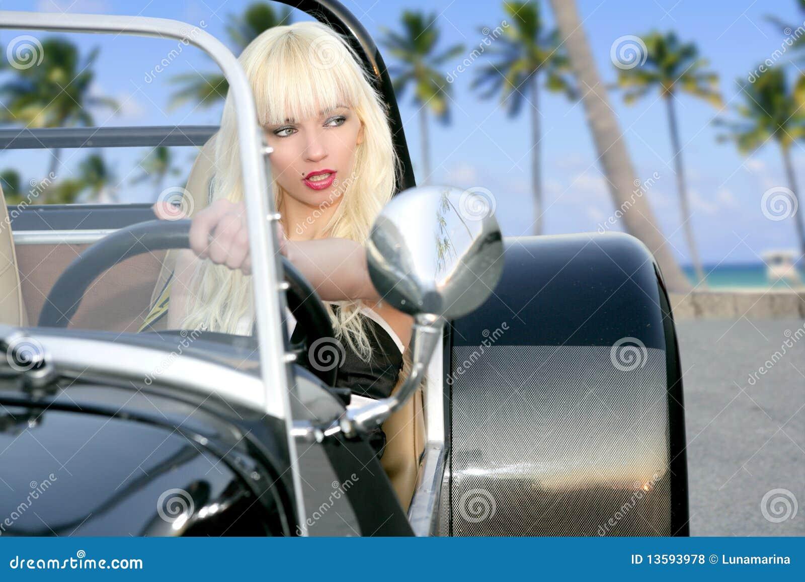 Sports Car Girl Blonde stock image. Image of model