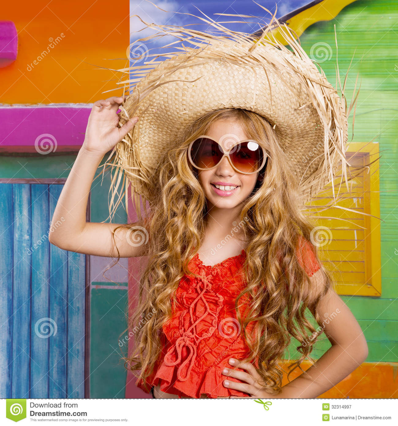 Beach Tropical Vacation Kid Blond Girl With Fashion: Blond Children Happy Tourist Girl Beach Hat And Sunglasses