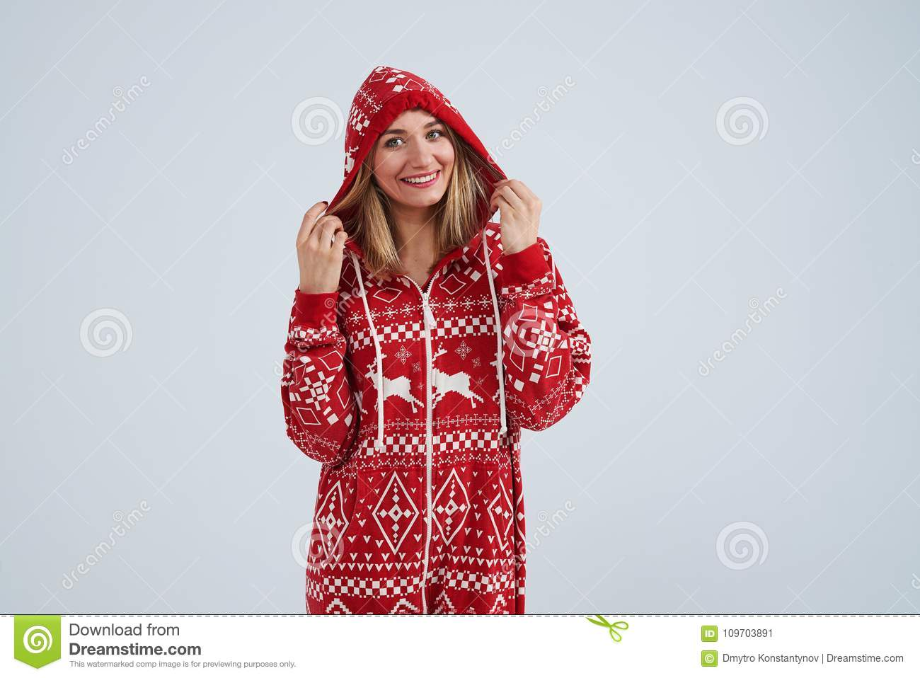Blond in christmas pajamas smiling stock image image of casual