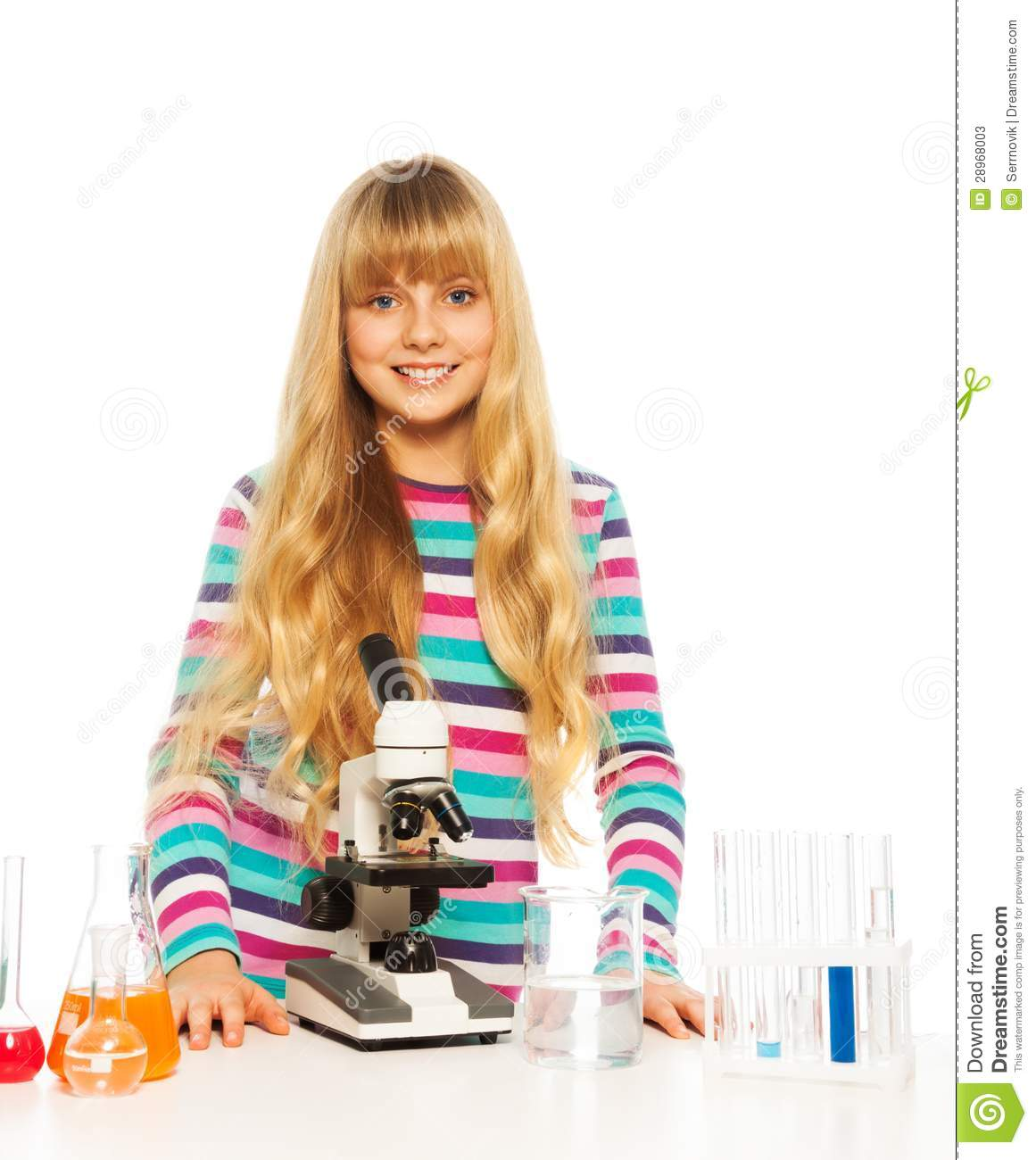 Clever School Girl: Blond Clever Teen Schoolgirl Stock Photo