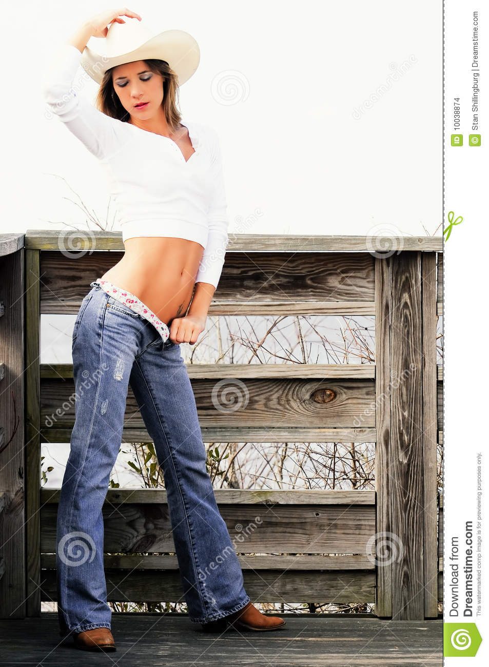 Blond Country Girl In Hat And Jeans Stock Images Image