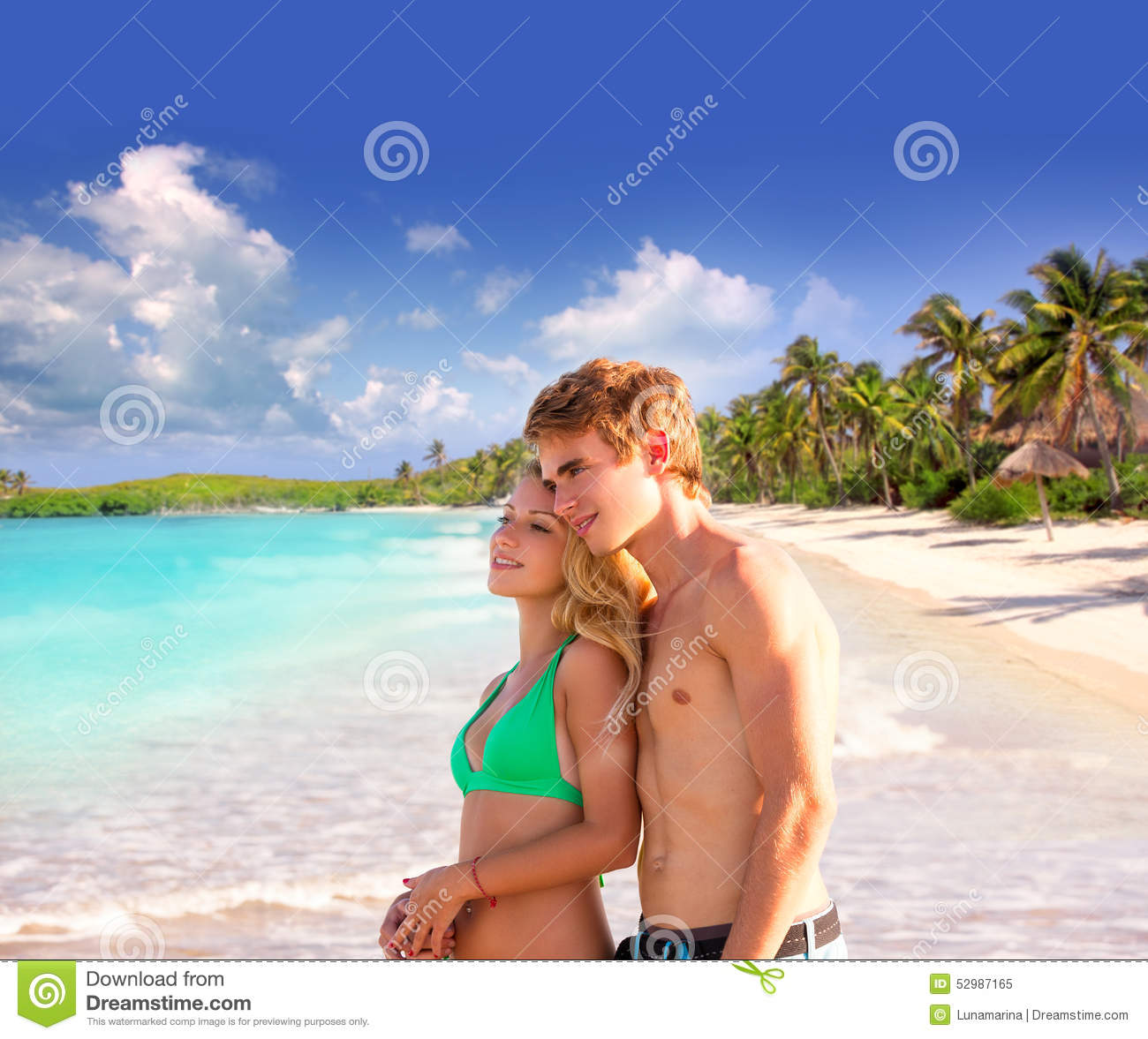 Couple At The Beach Stock Image Image Of Caucasian: Blond Couple Of Young Tourists In A Tropical Beach Stock