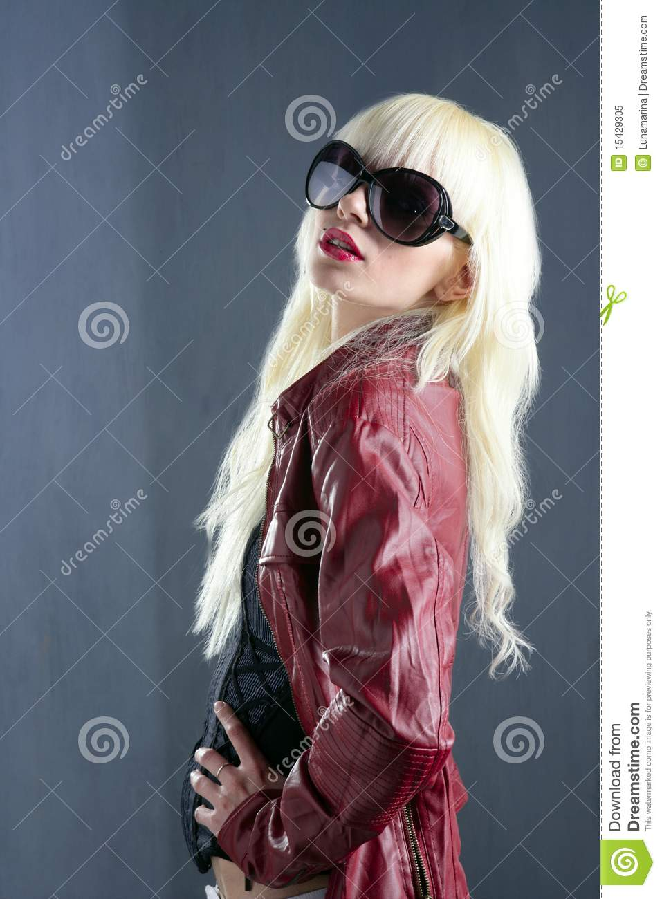 Blond fashion girl portrait red lips