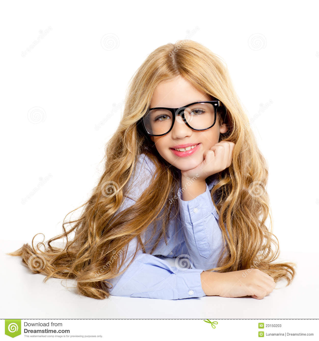 Blond Fashion Kid Girl With Glasses Portrait Stock Photos - Image 23150203-4217