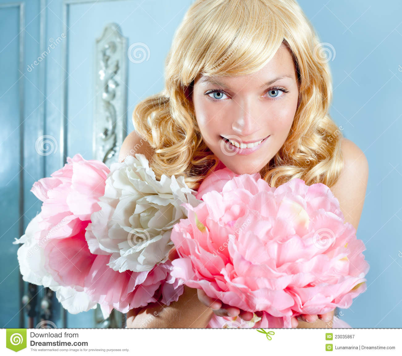 Blond Princess Fashion Girl With Spring Flowers Stock Image 27964495