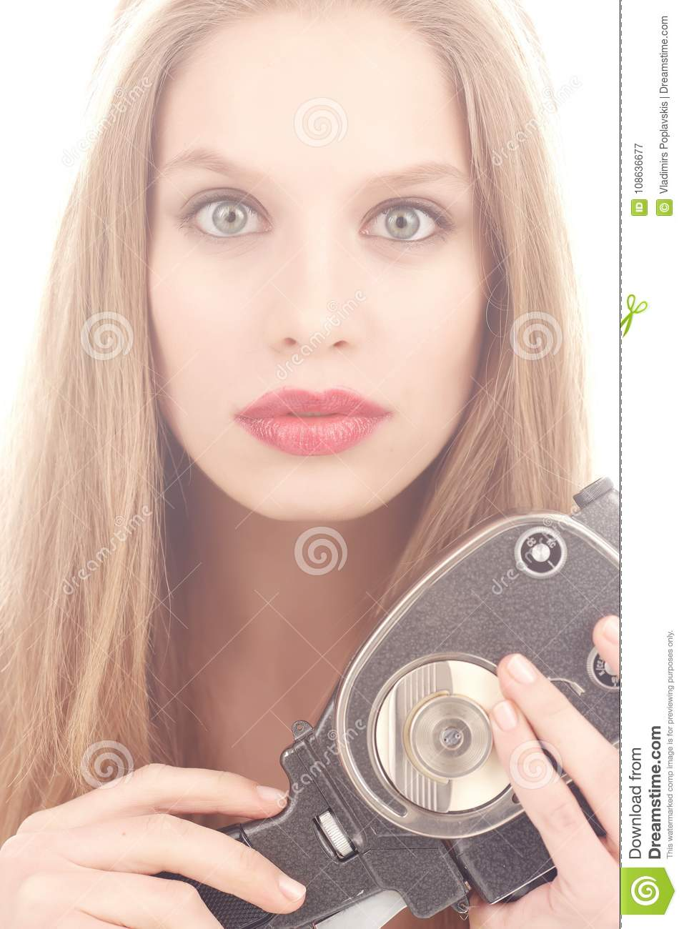 Blond Female Holding Old Video Camera Stock Image - Image of