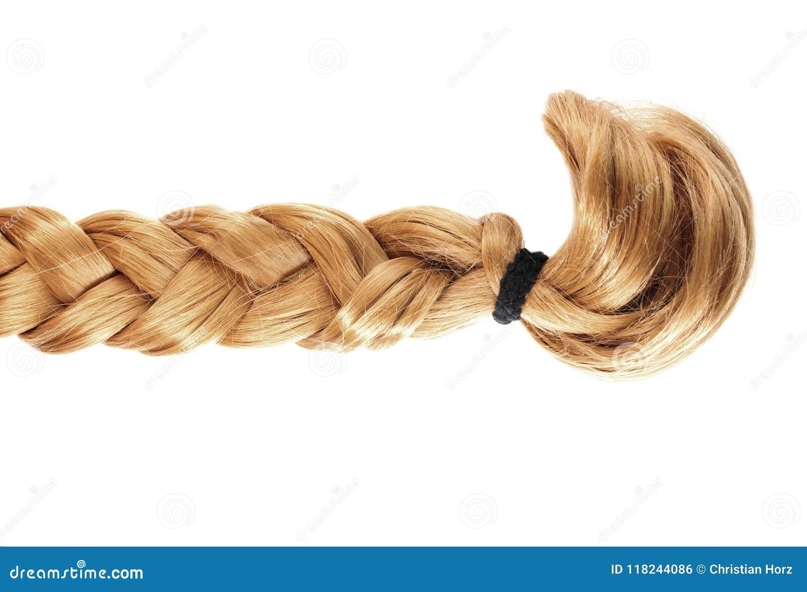 Blond fläta eller flätad tråd av blont hår på vit bakgrund