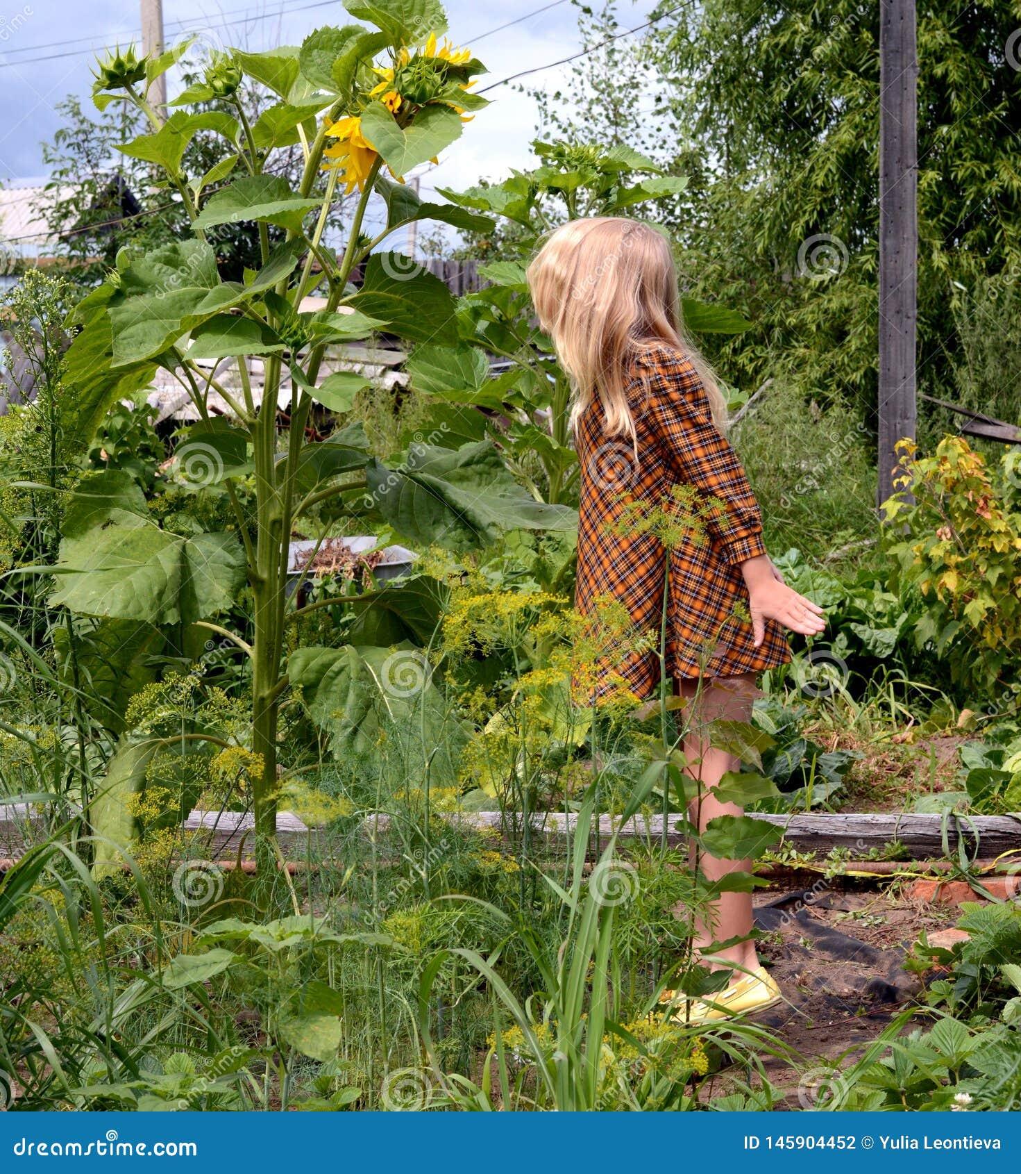 Blond flicka i trädgården!