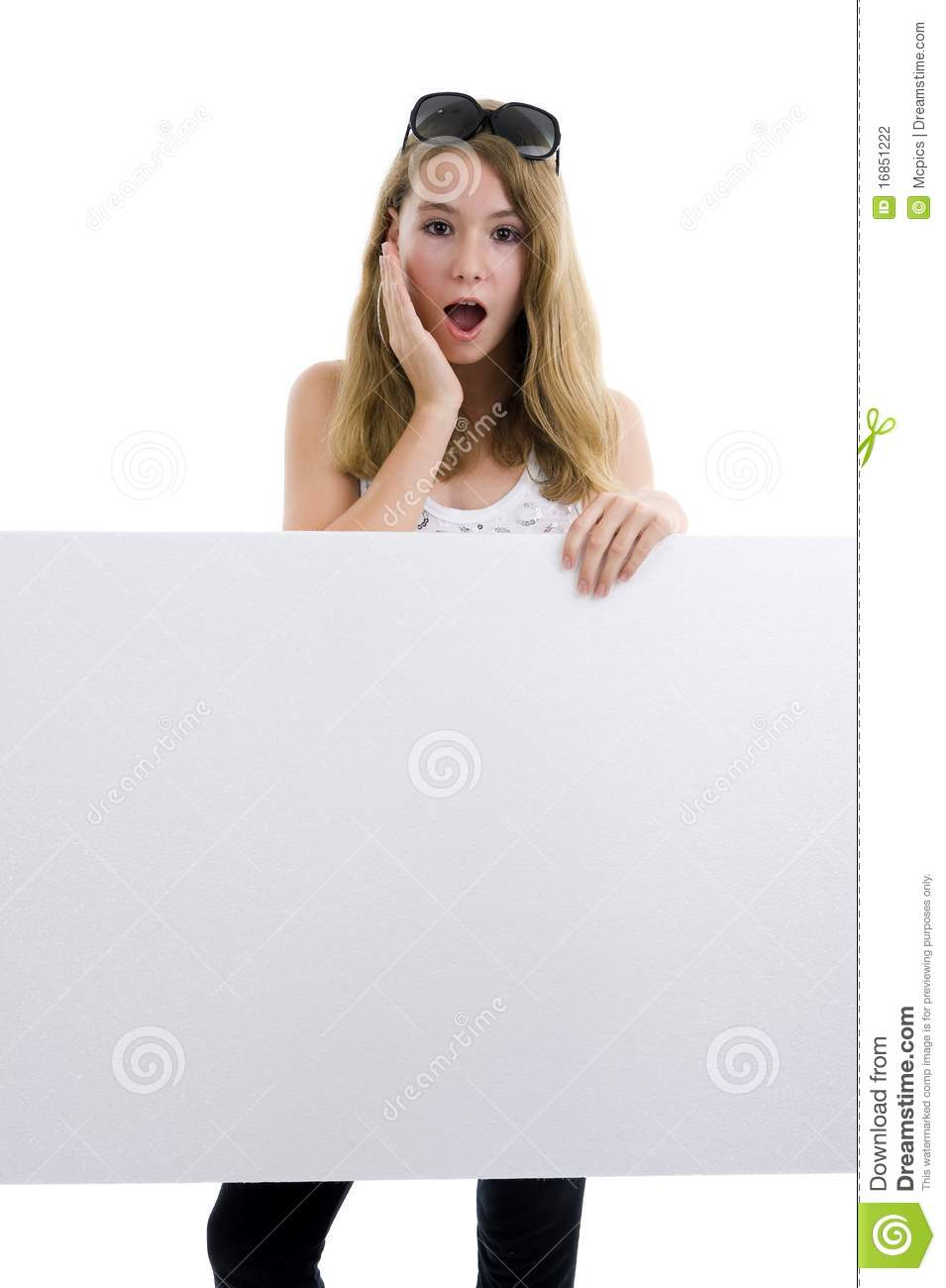 Blond girl with blank display board