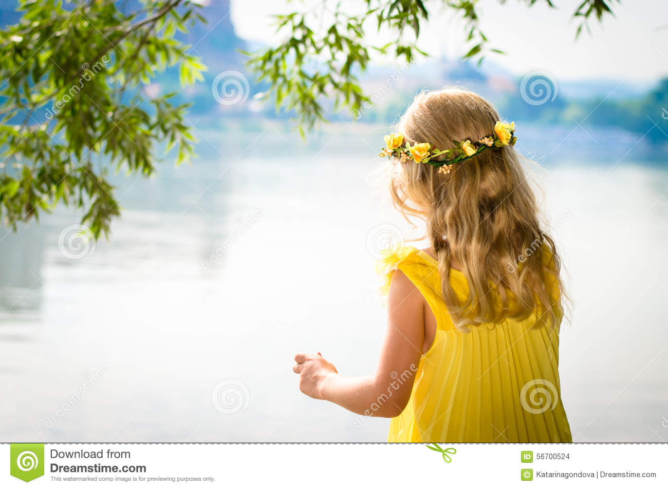 Blond Girl With Flower Headband Stock Photo Image Of Cute