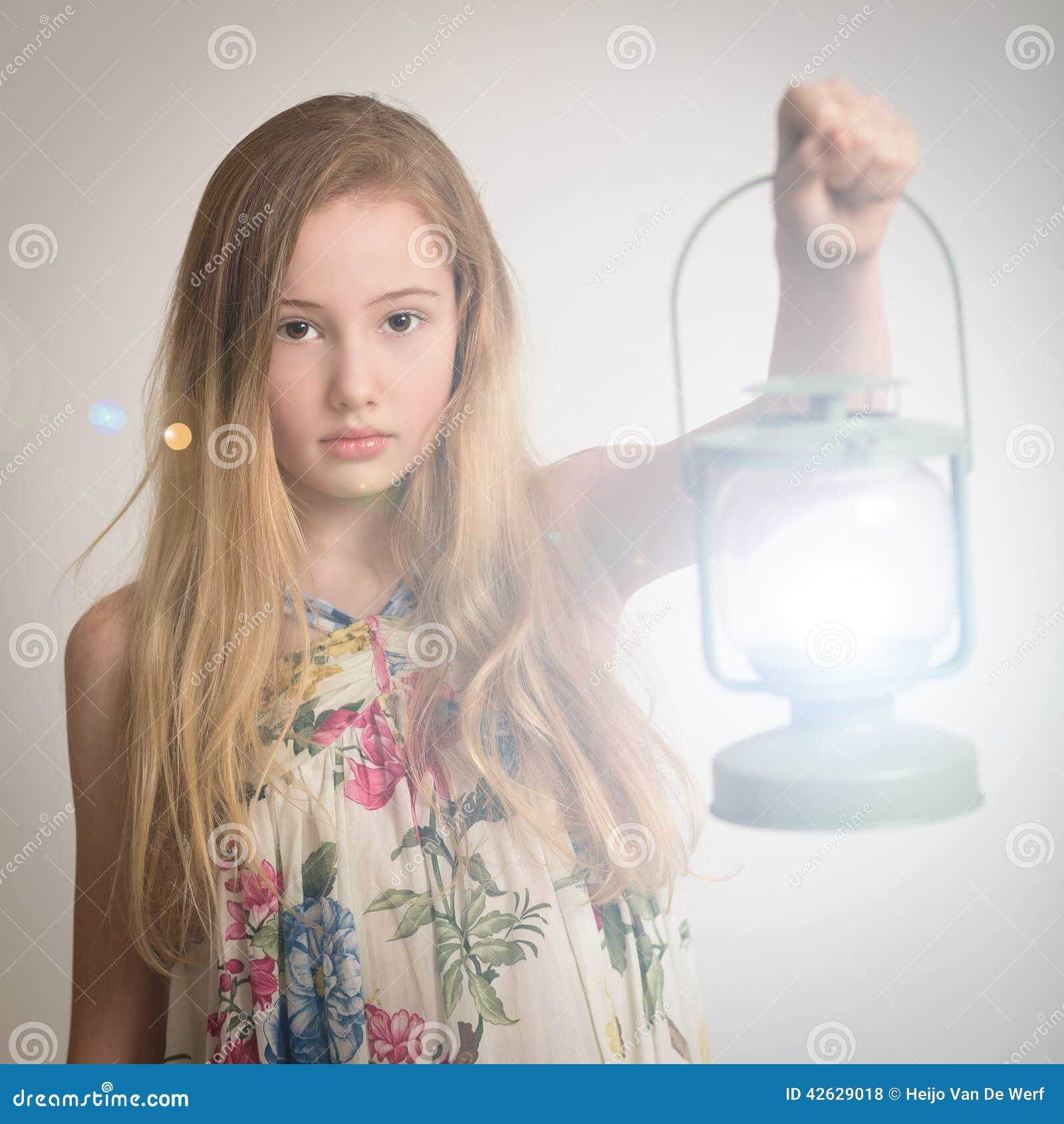 Blond Girl Holding A Lantern. Stock Photo - Image of lamp, hair ... for Girl Holding Lamp  104xkb