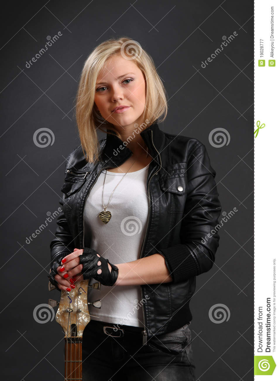 Blond Girl In Leather Jacket With Guitar Royalty Free Stock
