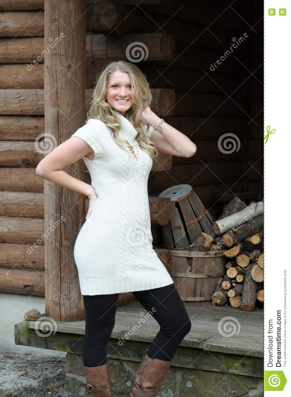 Blond girl log cabin royalty free stock photography for The girl in the cabin