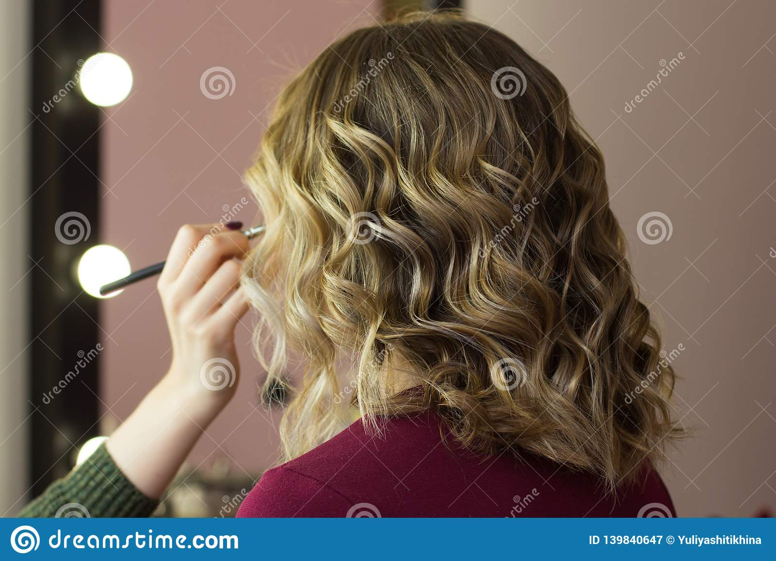 Styling hair beauty makeup look