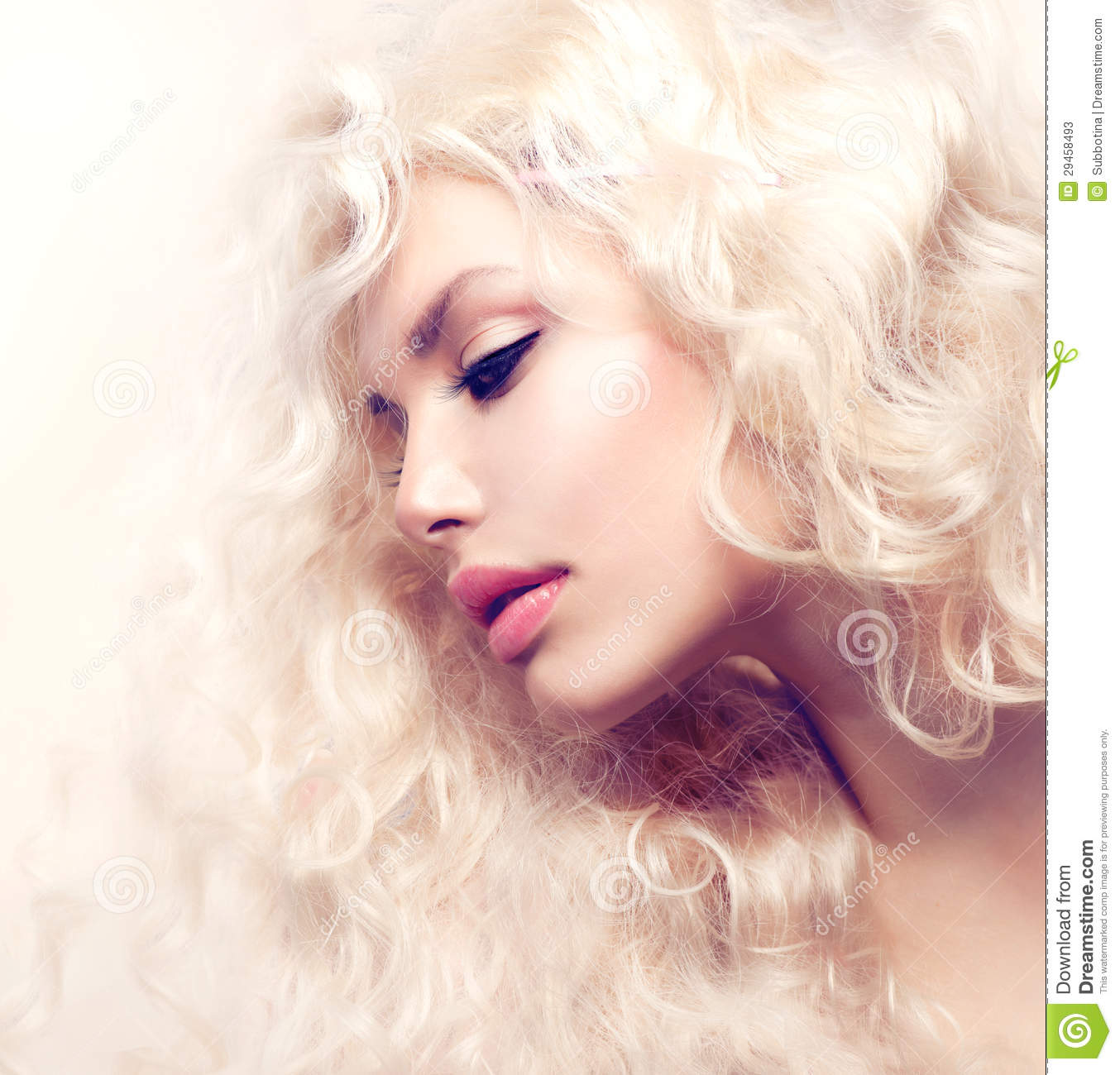 Blond Girl With Long Wavy Hair