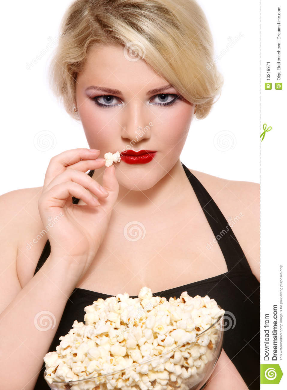 blond girl with popcorn stock image image of glam glamour 13218971