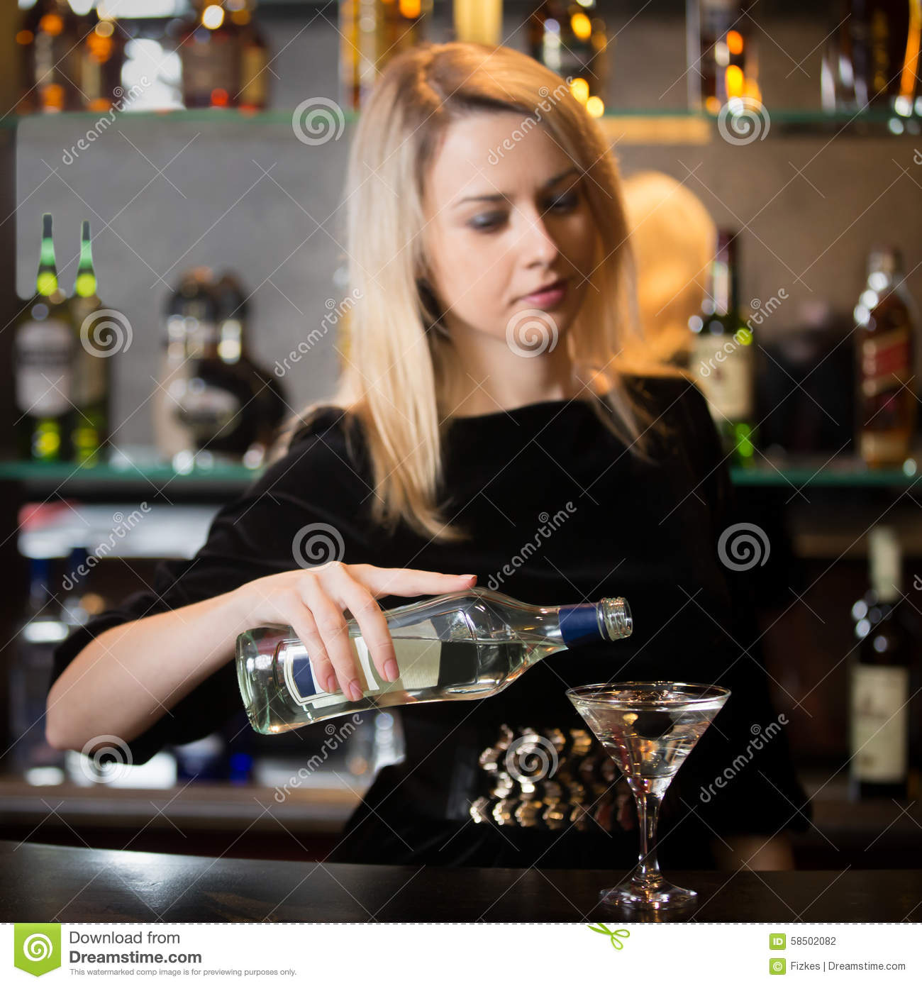 Blond girl serving alcohol drink stock photo image 58502082 for Cocktail bartender