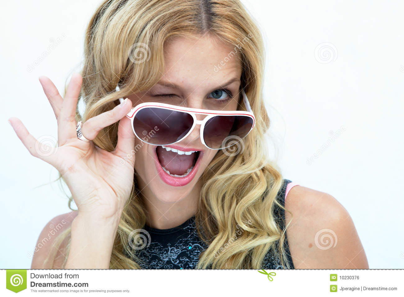 Blond Girl Winking Stock Photo Image Of Curly Human