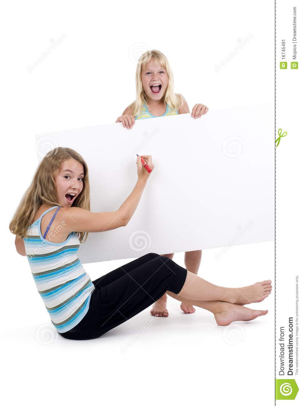 Blond girls with blank sign