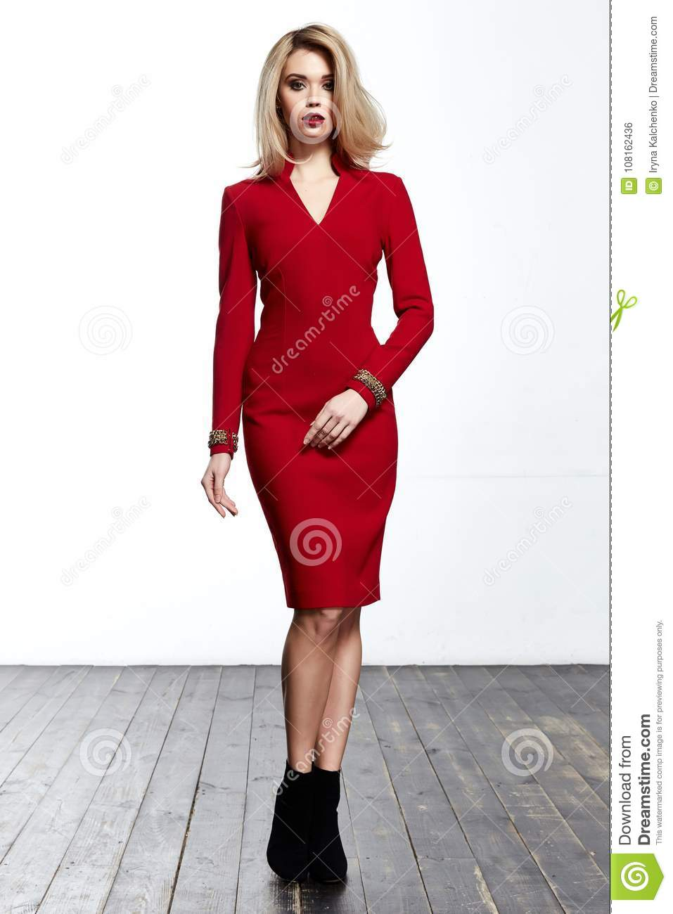 73dabb93cfd Blond hair woman wear office red skinny dress code style pretty beautiful  face model pose catalog of fashion clothes businesswoman white background  studio ...