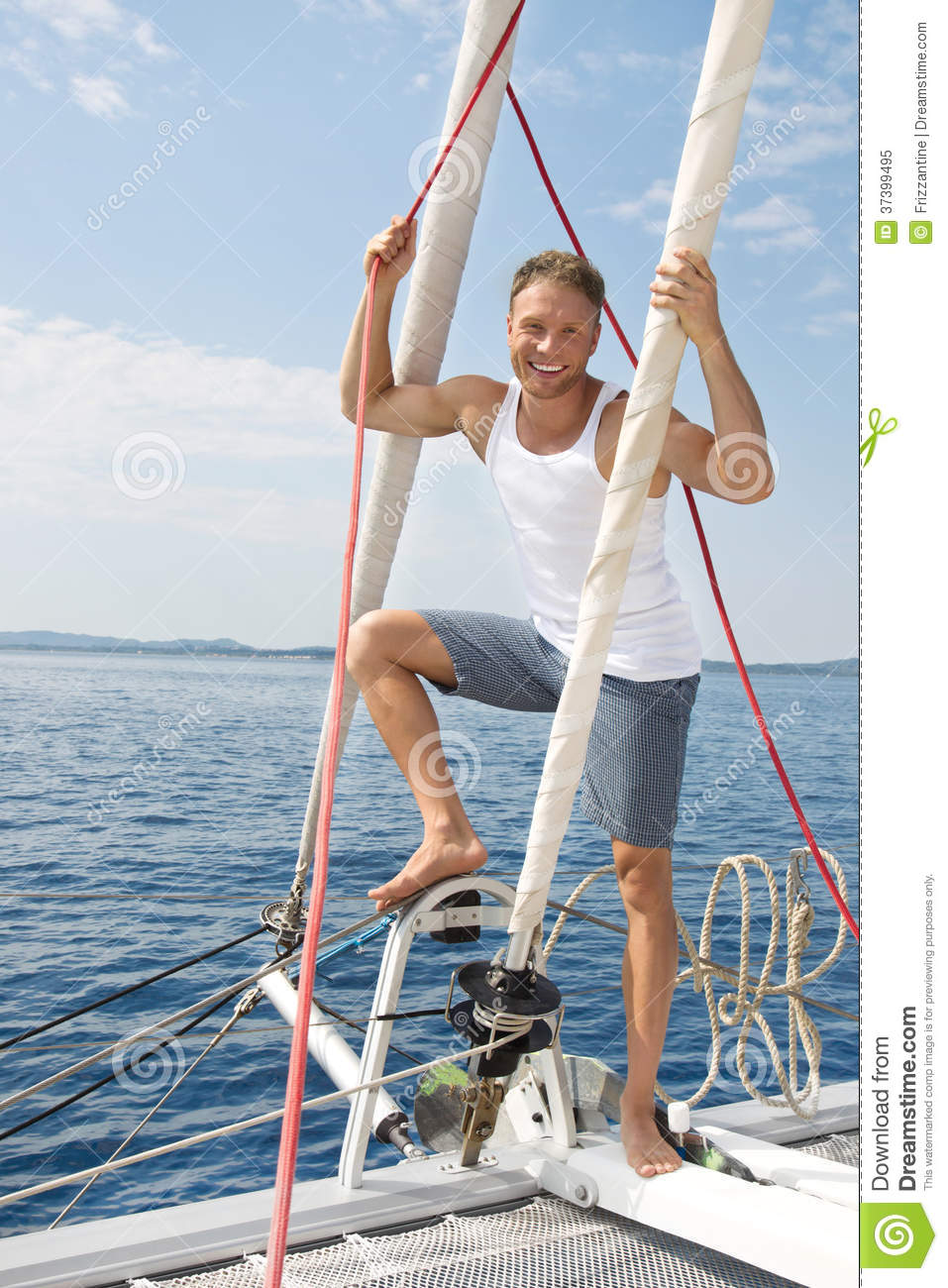 Blond Handsome Young Man On Sailing Boat. Stock Image ...
