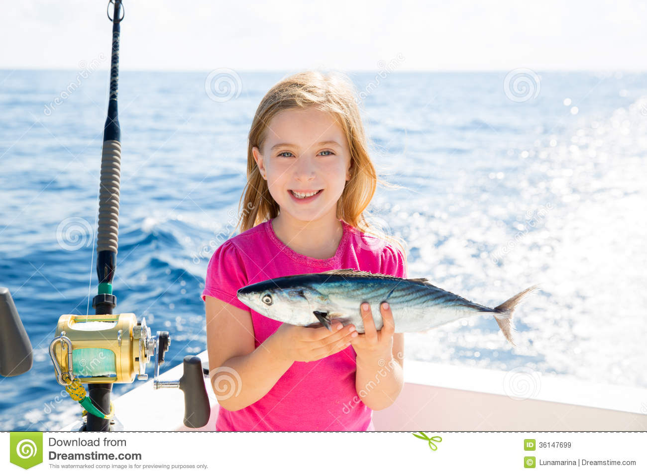 Blond Kid Girl Fishing Tuna Bonito Sarda Fish Happy Catch Royalty Free ...