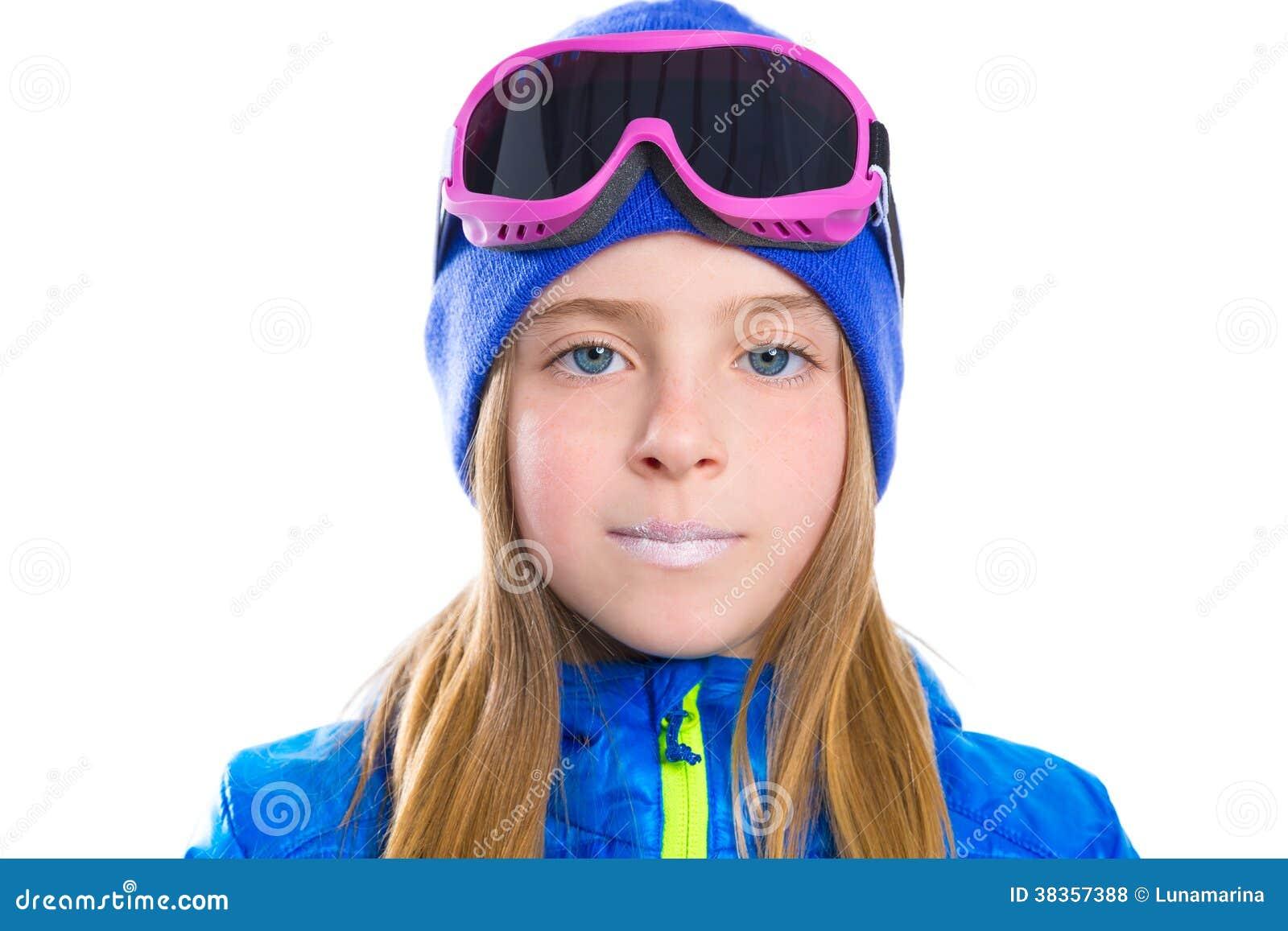 Blond Kid Girl Winter Portrait With Ski Snow Goggles Stock Photo ... 0b37d4343ba2