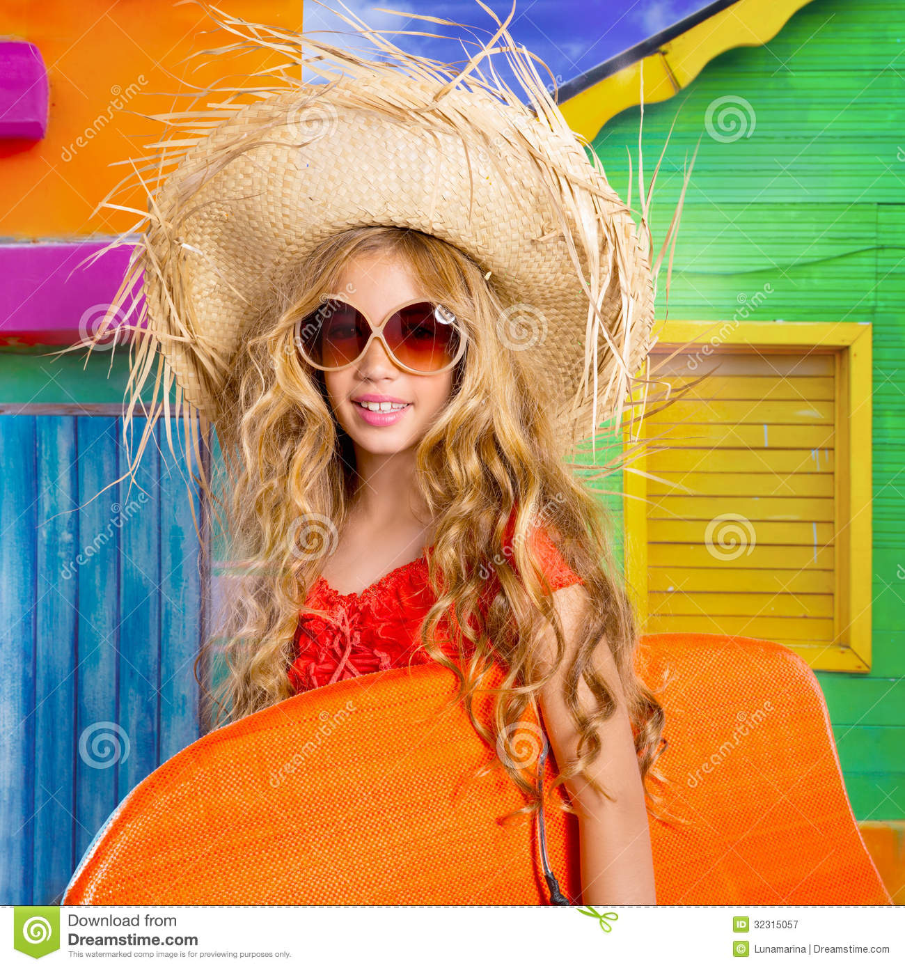 Beach Tropical Vacation Kid Blond Girl With Fashion