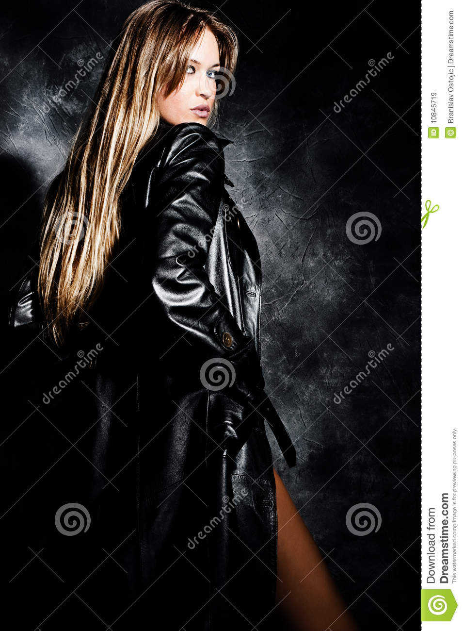 Blond in leather