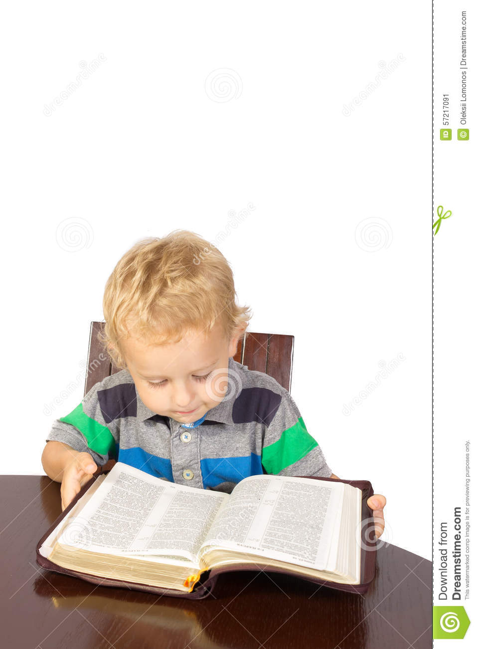 Reading The Nine Of Pentacles: Blond Little Boy Reading The Bible Stock Photo