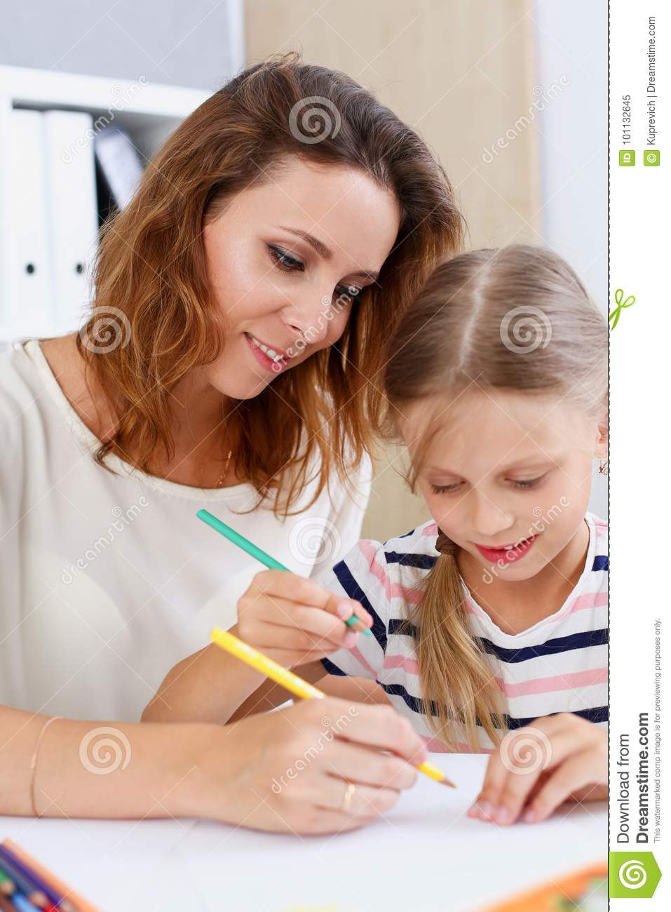 Blond Little Girl Hold In Arm Pencil Drawing Something ...