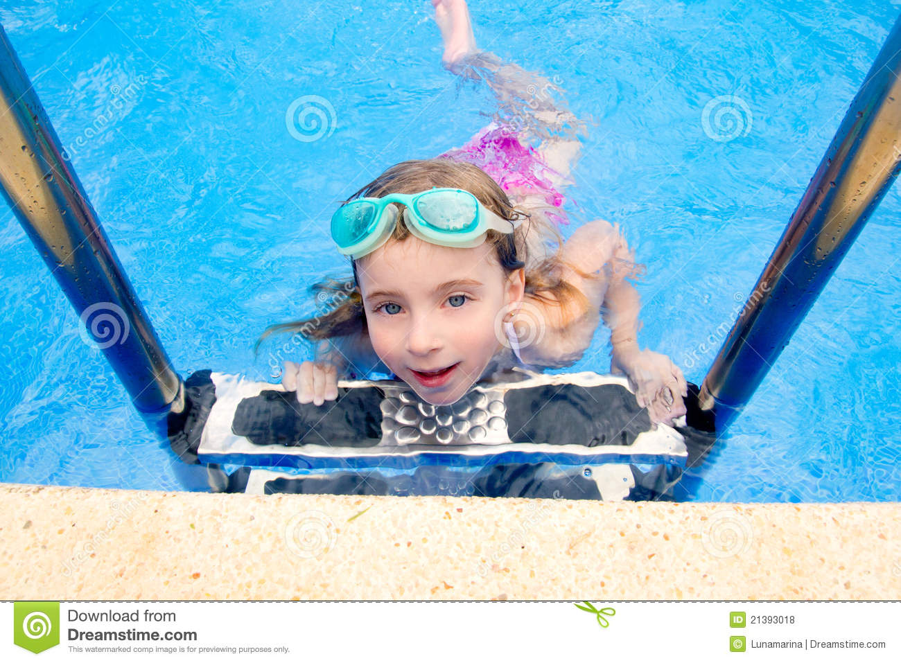 Blond Little Girl In Swimming Pool With Goggles Royalty ...   1300 x 957 jpeg 229kB