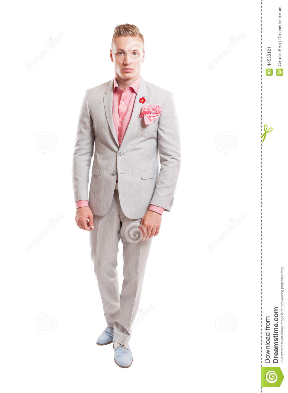 Blond male model wearing elegant light grey suit stock for What color shirt with light grey suit