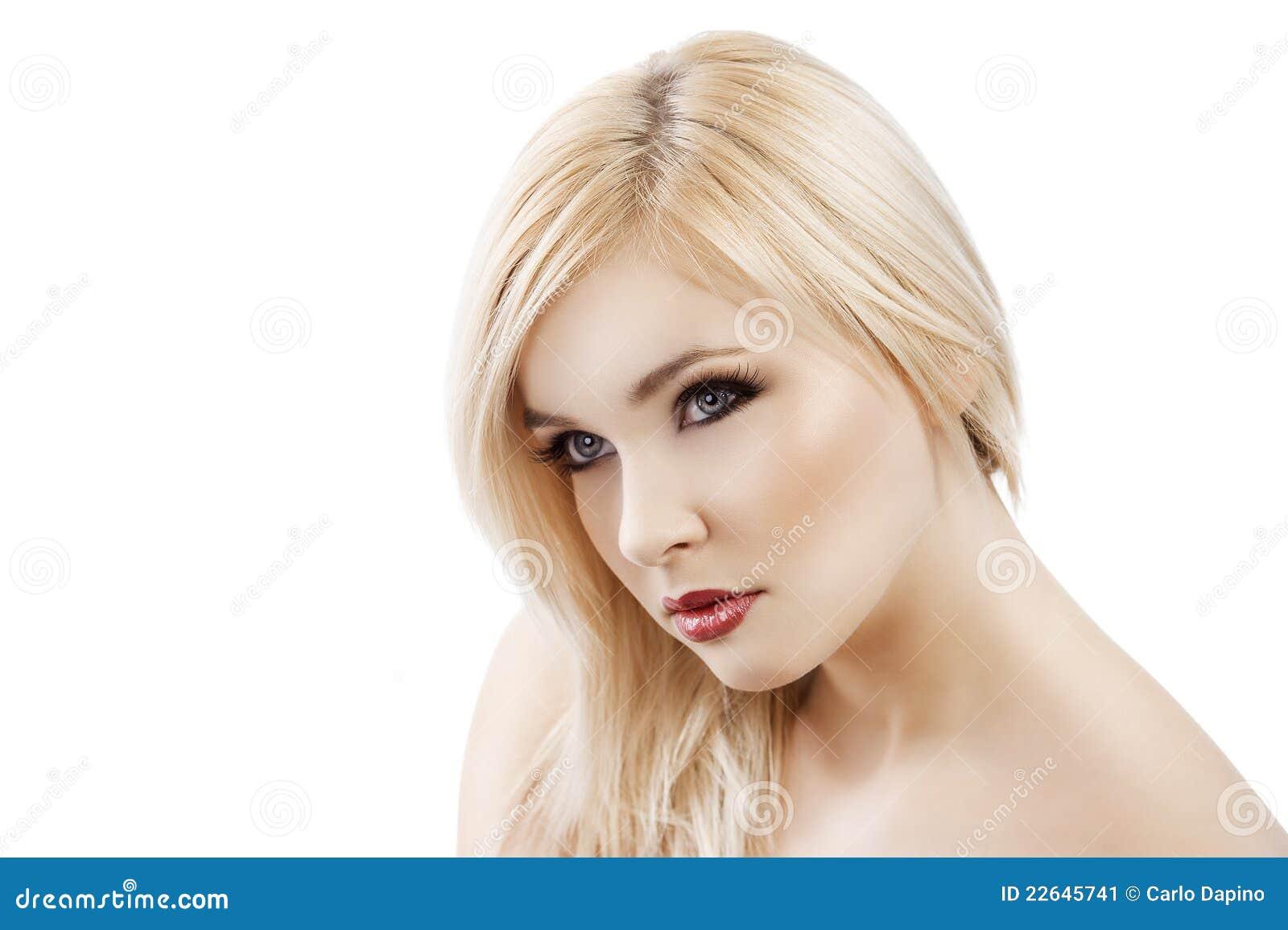 Blond Mit Dem Haar über Einer Schulter Stockbild Bild Von